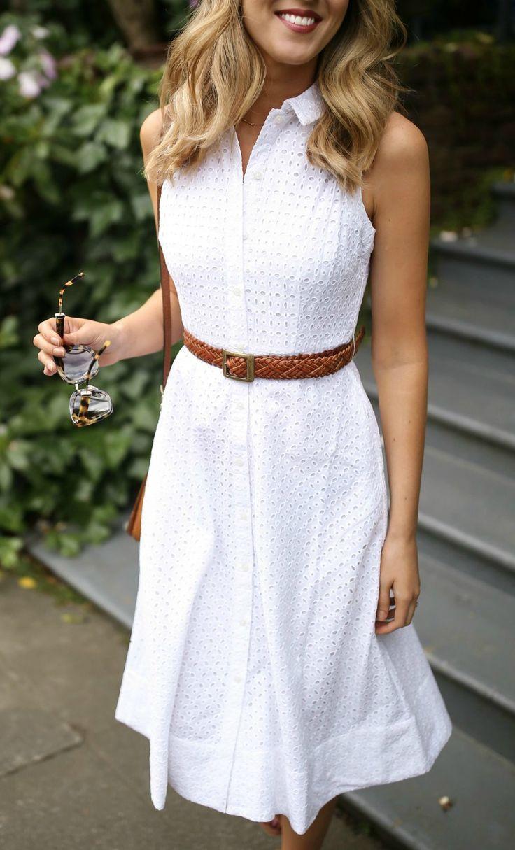 White eyelet midi shirt dress sundress with brown …