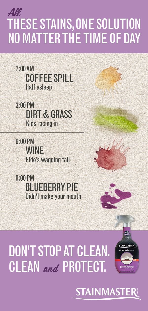 Coffee in the morning. Dirt in the afternoon. Blueberry pie after dinner. No matter the time of day, STAINMASTER® Carpet Stain Remover can help. Learn how to clean carpet stains like coffee, blueberry pie, wine and tracked-in dirt.