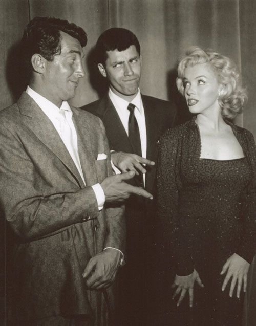 Dean Martin, Jerry Lewis, Marilyn Monroe, 1950s <3 = comedy team of Martin & Lewis made MANY movies. Some falling out after several years and they never worked together again.