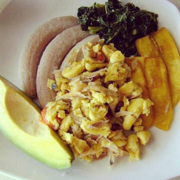 Boiled Banana, Fried Plantain, Callaloo, Ackee and Saltfish
