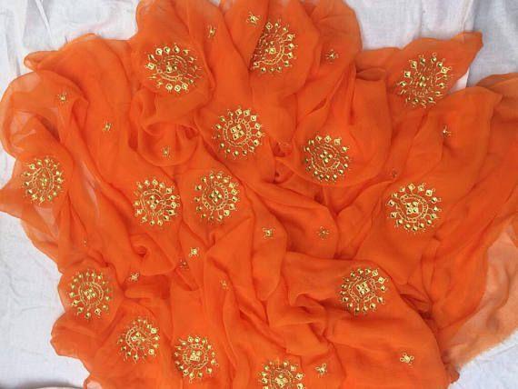 Pure chiffon saree with danka work