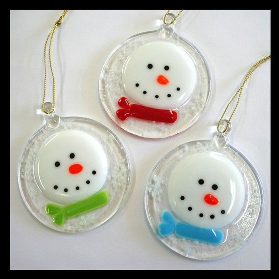 Fused glass snowmen