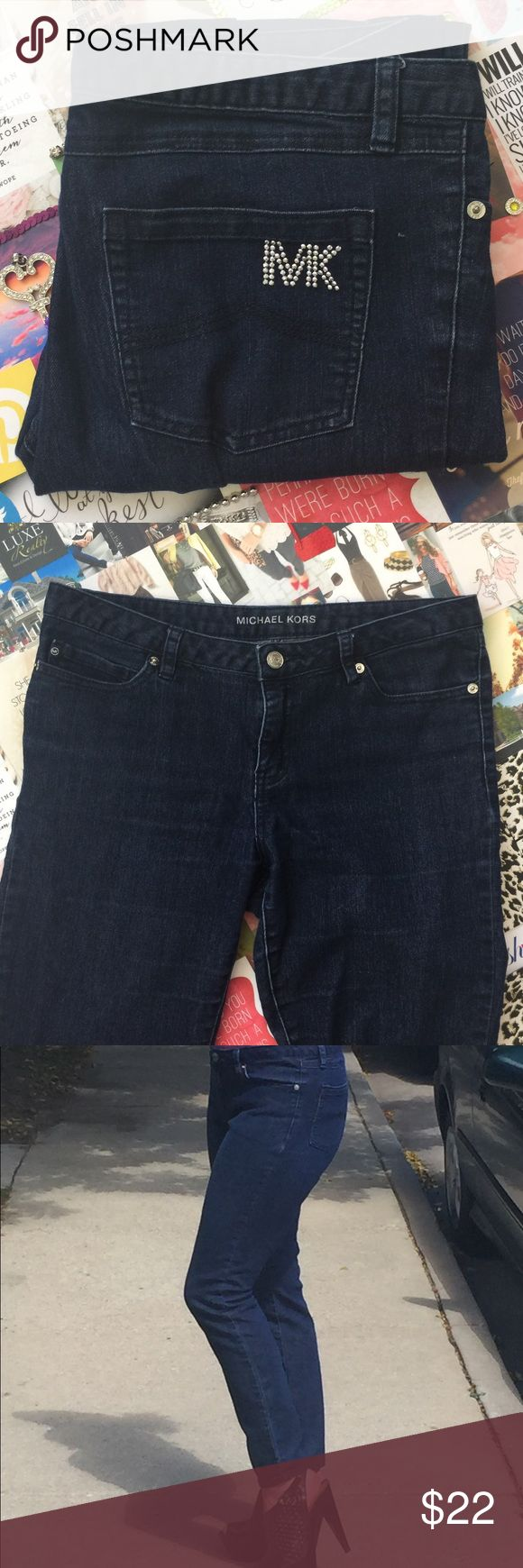 Michael Kors Stretch Dark Wash Denim Jeans! 👖👢👚 Soft, stretchy Michael Kors jeans that hug your curves without sacrificing comfort! Stylish dark denim is easy to dress up with heels and wear casual with a tee too! Glam, sparkly MK emblem on back pocket. They are a true size 8, and if you're between sizes I'd say these are best for 8-10, not 6-8. In great condition, rarely worn, I'm just not much of a denim girl so I'm selling them. Michael Kors Pants Straight Leg
