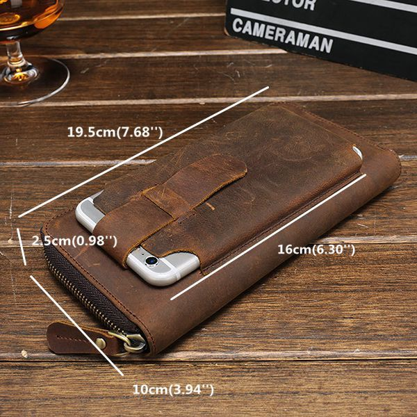 First Layer Of Cow Leather Vintage Coin Bag Business Zipper Wallet For Men Shopping Online - NewChic Mobile