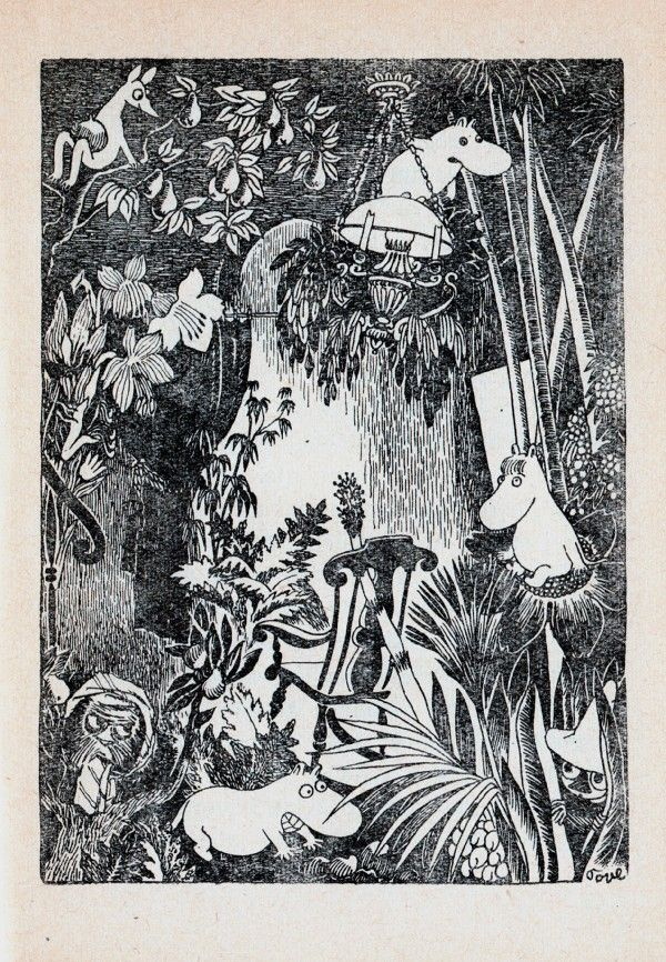 Tove Jansson, Moomin illustration. I honestly don't know which one is Moomintroll, the one up on the lamp or the one reaching for the comb on the ground. (Or is he looking at something else?) I would wager Moomintroll's the one hanging, though, and that it's the Snork on the ground. (Wow, that's a huge smile on that one. :D )