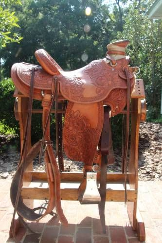 Keith Valley Floral Tooled Wade Saddle for Sale - For more information click on the image or see ad # 33713 on www.RanchWorldAds.com