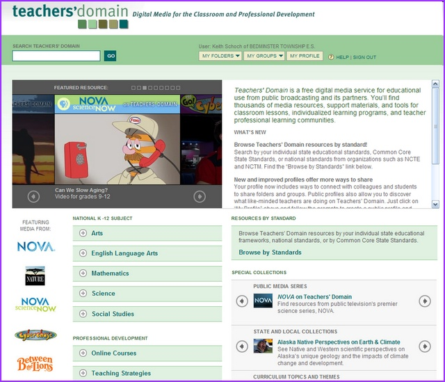 Teachers' Domain: Digital Media Lessons Aligned with Core Standards.    Blog article about Teachers' Domain site--free digital service for education use offering digital media lessons searchable by topic and grade level and aligned with Common Core (Teaching That Sticks).