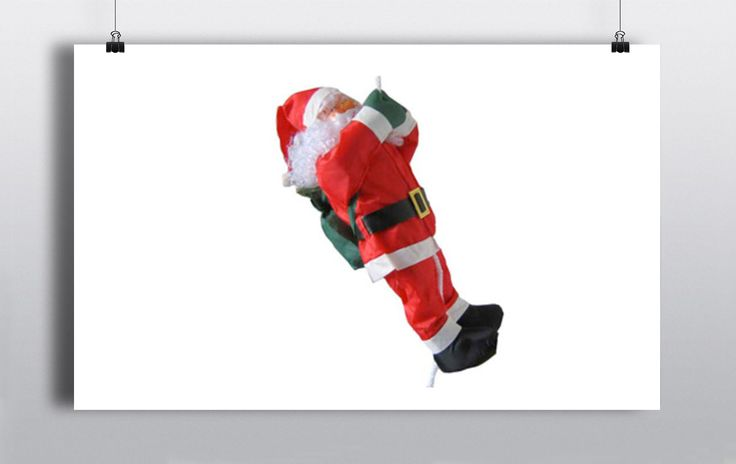 Climbing Santa Claus Prop on a rope. Can be used both indoors & Outdoors. http://www.prophouse.ie/portfolio/hanging-santas/