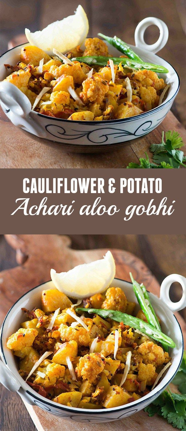 Achari Aloo Gobhi is a simple sabzi from Indian cuisine. Delicious winter dish of cauliflower that makes excellent side dish in any meal.   Vegan, glutenfree and vegetarian.