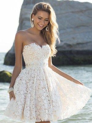 A-Linie/Princess-Stil Herz-Ausschnitt Ärmellose Kurze Spitze Kleider