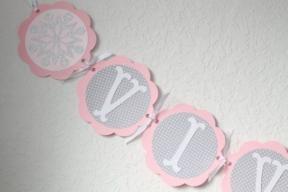 Winter Onederland Birthday Name Banner, Snowflake Decorations, Girls 1st Birthday, Pink and Gray Birthday Decorations, Winter Birthday Decor on Etsy, $20.00