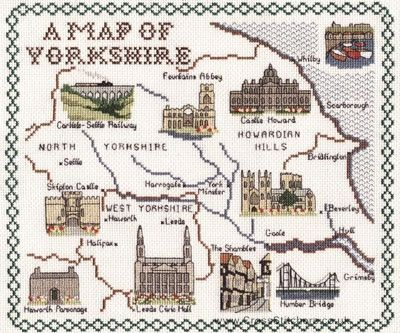 Yorkshire Map Cross Stitch Kit from Classic Embroidery