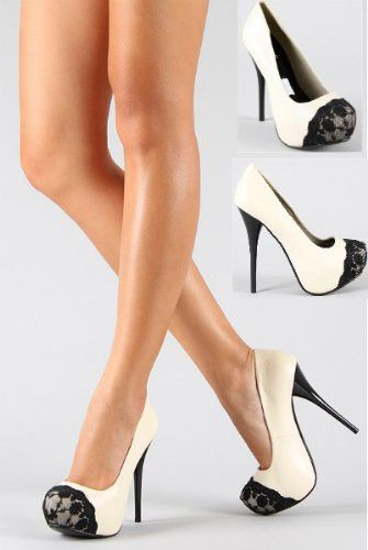 Lace Tipped Black and Cream Stiletto Pump