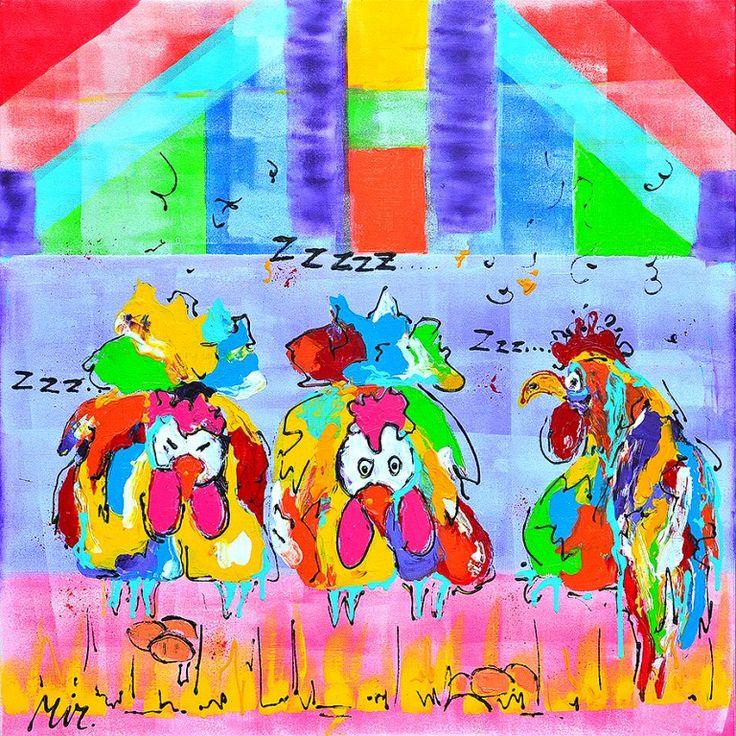 Dit is een: Acrylverf op doek, titel: 'Kleurrijke slaapkamer' kunstwerk vervaardigd door: Mirthe Kolkman