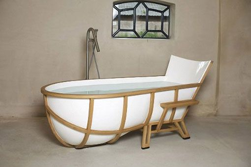 Una bañera con inspiración para poder relajarse en nuestro baño - baño de inmersión,las bañeras,el diseñador,diseño híbrido,nuestro baño,la bañera,marco de madera,poliéster y mármol,sala de estar,cuarto de baño,diseño de bañera,estilo de cuarto de baño