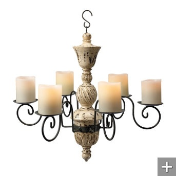 Antique Wood Chandelier... want this look but not battery operated candles. Would like it to be operated by light switch. Anyone seen anything of the sort?