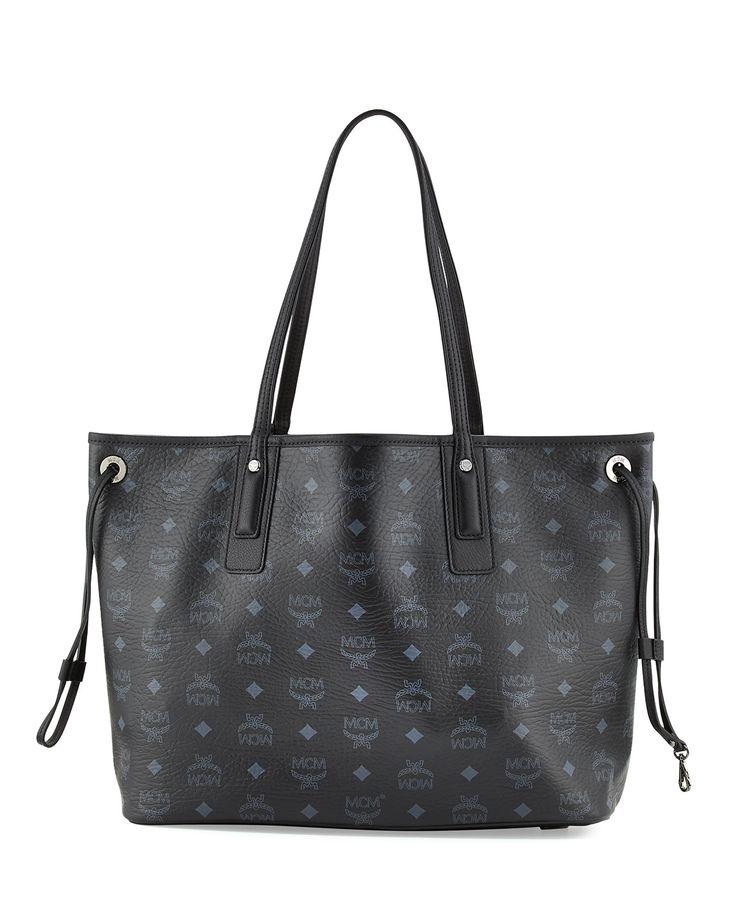 Liz Reversible Medium Shopper Tote Bag, Black - MCM