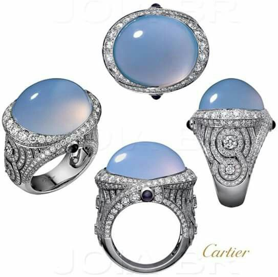 GABRIELLE'S AMAZING FANTASY CLOSET | Cartier | Large Oval Blue Chalcedony Cabochon mounted in a White Gold, Diamond Pave Ring |