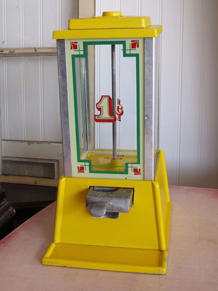 Vintage Yellow Gumball Candy Vending Machine - Dean by Penny Arcade 1975 #DeanbyPennyArcade