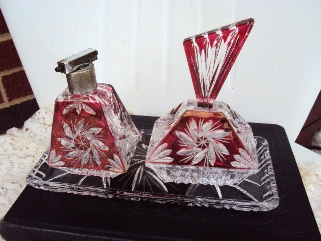 Antique Perfume Bottle Vanity Set with Jewelry Box in Cranberry Glass and Tray