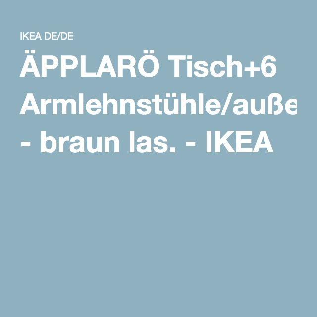 ÄPPLARÖ Tisch+6 Armlehnstühle/außen - braun las. - IKEA