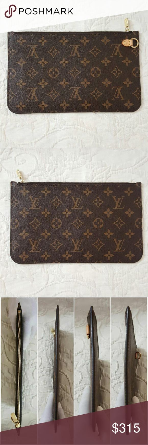 Louis Vuitton Neverfull Monogram Wristlet Pouch GM 100% Authentic or your Money Back. Excellent Pre-Loved Condition and Clean Inside(Please Check Photos for Best Description) Wristlet/Pouch Only & No Strap. Serious Buyer Only. PLEASE FOLLOW US FOR MORE GREAT DEALS TO COME!!! Louis Vuitton Bags Clutches & Wristlets
