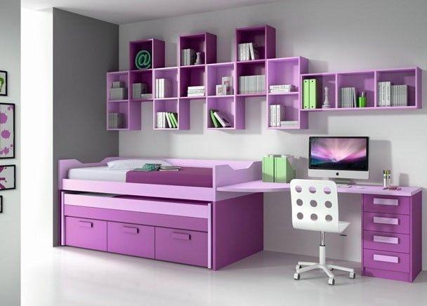 Mejores 160 im genes de mobiliario juvenil morado lila en for Habitacion juvenil nina