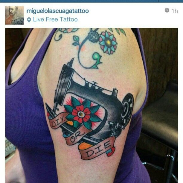 American Traditional Sewing Machine - by Miguel, Live Free Tattoo, Atlanta