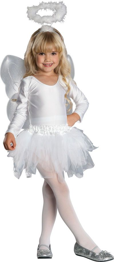 Flights of fantasy will turn into heavenly bliss with our Angel Tutu Kids Costume. Heaven will be missing an angel when she is whirling and twirling around the house during dress-up play! Our kids Angel Tutu Costume includes a long sleeve white leotard, white tutu skirt with ruffled waistband, white marabou halo headband, angel wings and white tights. This angelic ballerina will feel so light on her feet. Our Angel Tutu Costume for kids is great for Christmas Nativity plays, church events…