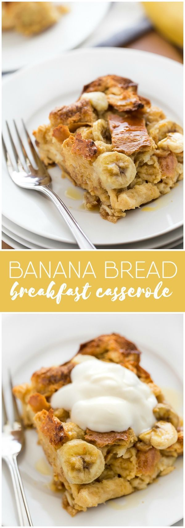 Banana Bread Breakfast Casserole - Use up your brown bananas and leftover bread in this crowd-pleasing breakfast recipe! It comes together in 10 minutes, bakes for 1 hour and is a meal you'll find yourself making again and again.