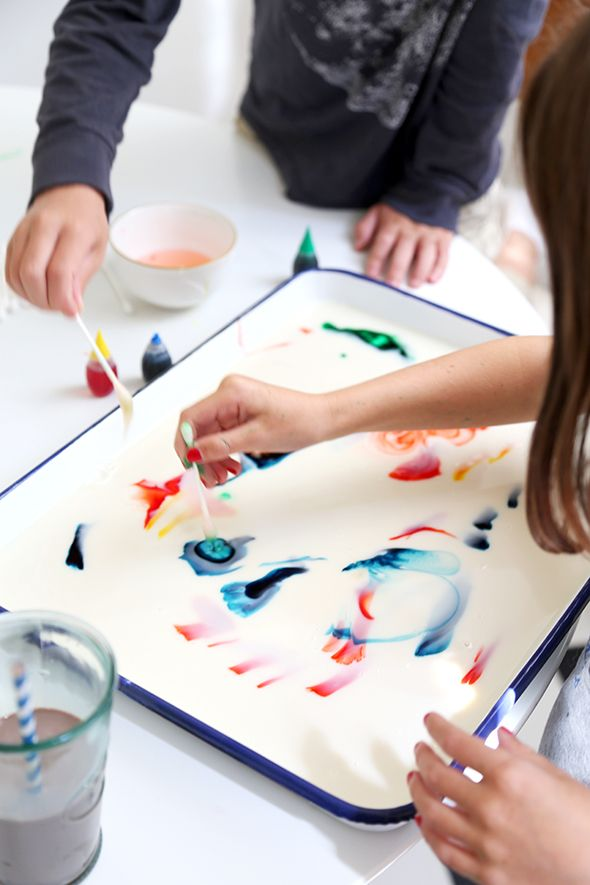 how to make milk art =  milk (almond) = food colouring q tips = soap = water colour paper = dry