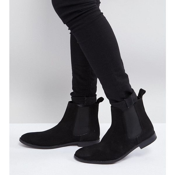 ASOS Wide Fit Chelsea Boots in Black Suede (1,210 MXN) ❤ liked on Polyvore featuring men's fashion, men's shoes, men's boots, black, mens wide width shoes, mens suede chelsea boots, mens black shoes, mens pointed chelsea boots and mens black boots
