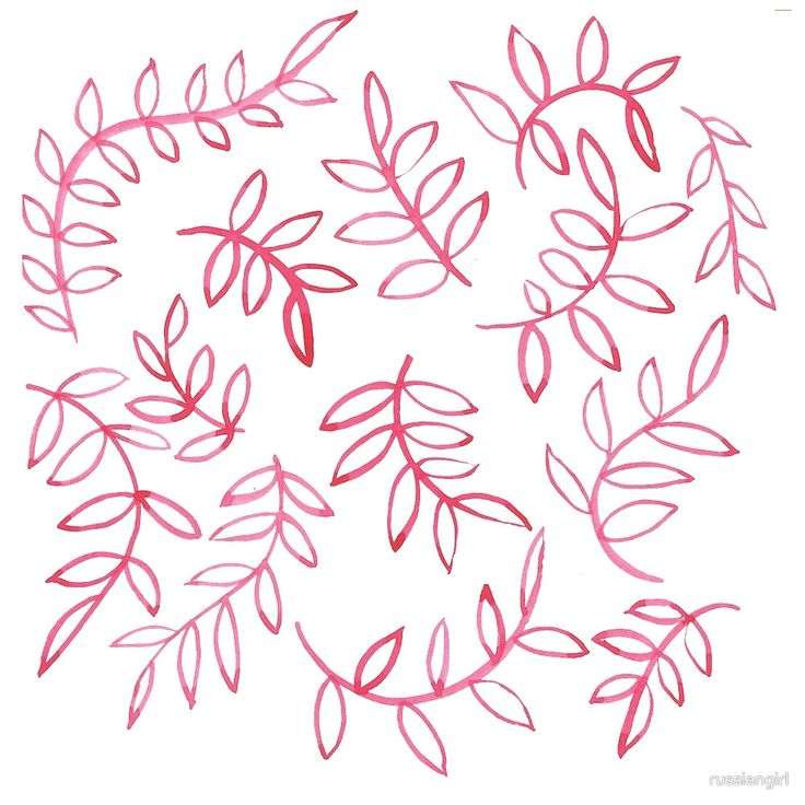 """""""Red floral leave and brunch. Pattern"""" by russiangirl   Redbubble"""