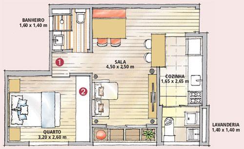 Apartamento de 36 m² dribla a falta de espaço com muito planejamento - Casa