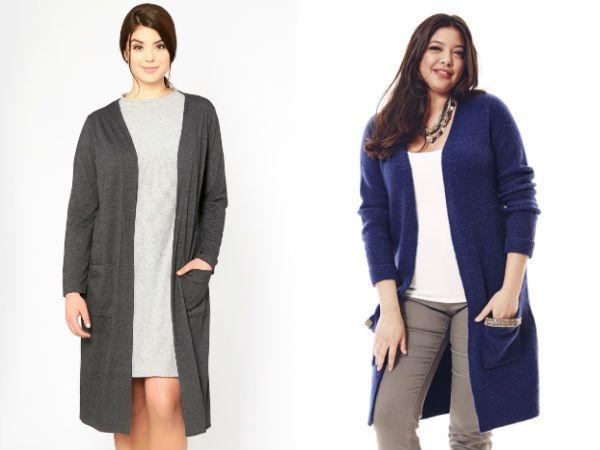Модные кофты осень-зима 2016-2017. Обращаю внимание, свитера и кофты для полных преимущественно однотонные.