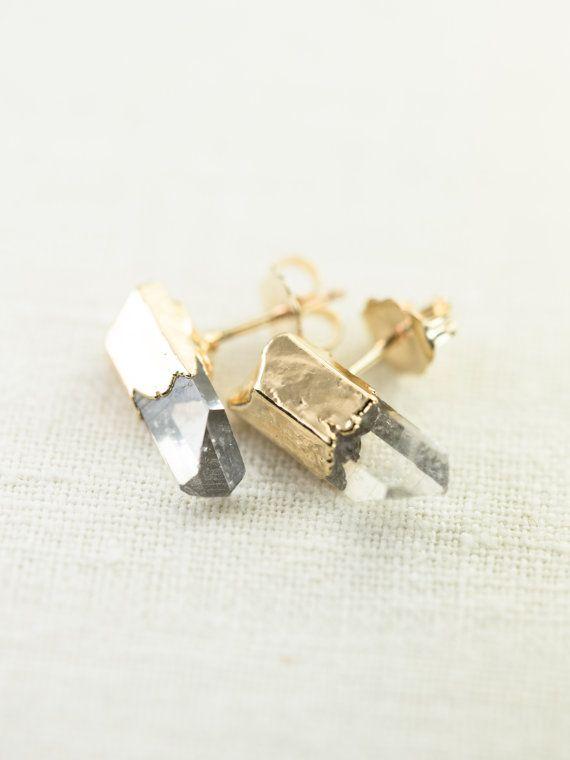 Keilani earrings - clear quartz point stud earrings by kealohajewelry
