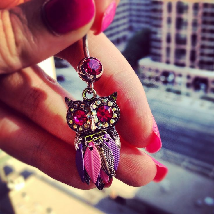 Owl belly button ring. Gotta have this