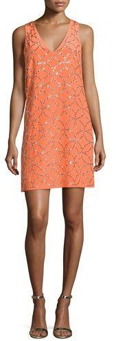 Trina Turk Sally Sleeveless Studded Silk Mini Dress, Orange Spritz