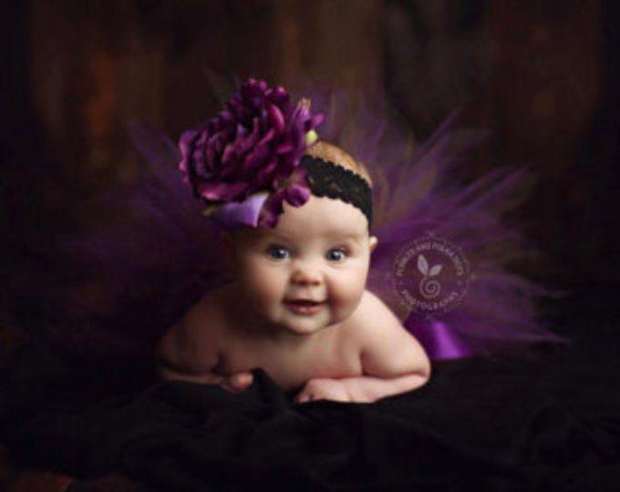 Set tutú recién bosque púrpura opcional cinta rosa con... Prop de la foto, regalos de bebé... Bebé, niño, niñas tallas... SAUCE PÚRPURA