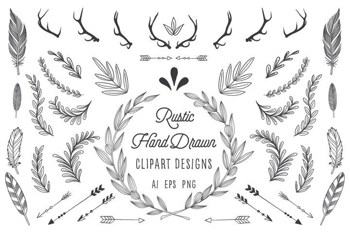 Rustic Wreath Feather Arrow Set 81779 Illustrations Design Bundles In 2021 How To Draw Hands Rustic Wreath Free Graphics