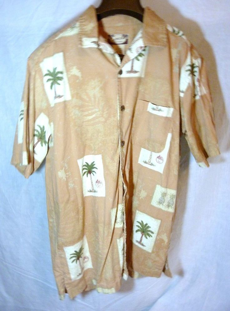 Mens Calypso Joe Island Wear Size L Hawaiian Tropical Island Button Up Palm Tree #calypsoJoe #ButtonFront