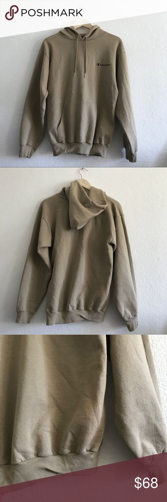 Champion beige logo hoodie Champion beige logo hoodie   HAS FLAWS: discoloration but it blends in with the sweater   fits all sizes depending on how oversized you want it to be Champion Jackets & Coats