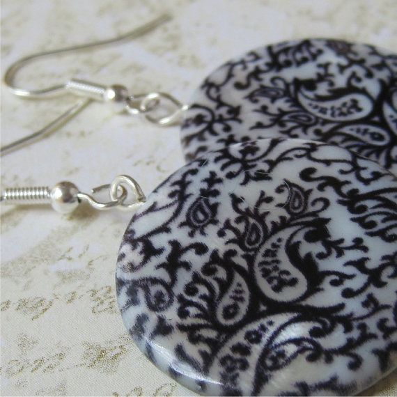 Round shell earrings  Blue and white paisley by planettreasures
