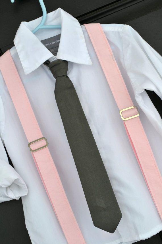 Light Pink and Grey Necktie  Suspender Set - Baby / Toddler / Child (www.idresstothrill.com)