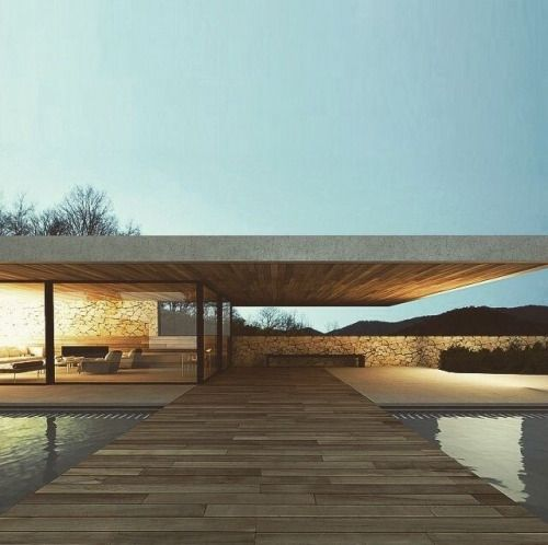 straight architecture with wood and concrete