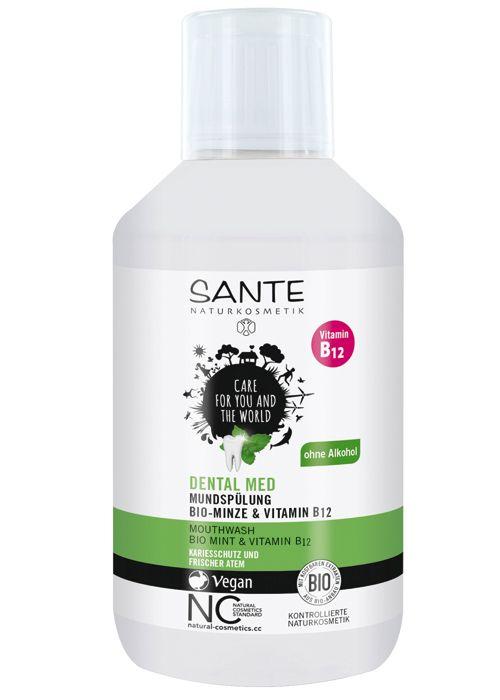 Sante Dental Med bio ústna voda s mätou a vitamínom B12 je efektívny doplnok starostlivosti o ústnu dutinu a zuby. S obsahom BIO šalvie a BIO aloe vera zabraňuje vzniku zubného povlaku a pôsobí dezinfekčne.