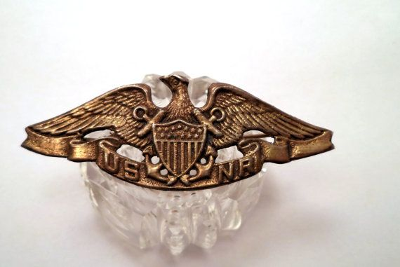 Large STERLING US NR Navy Reserve Eagle Shield Anchor Pin Brooch Jewelry