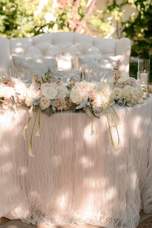 "I honestly don't even know where to start with this Great-Gatsby-meets-romantic-fairytale San Juan Capistrano wedding—it's just that pretty. The Bride's dreamy Jim Hjlem gown. The glam reception decked out by Mele Amore Events with Wildflower Linen, La Tavola Linen and Found Rentals. Then there's the ""Key to Success"" guest"