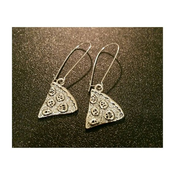 Pizza slice silver plated earrings pizza by SuperFantasticJulie