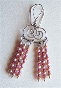 Handmade chandelier earrings, pearls and garnets handmade-beaded-gemstone-jewelry.com